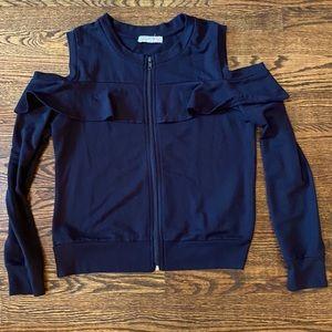 Cold shoulder ruffle detail sweatshirt medium